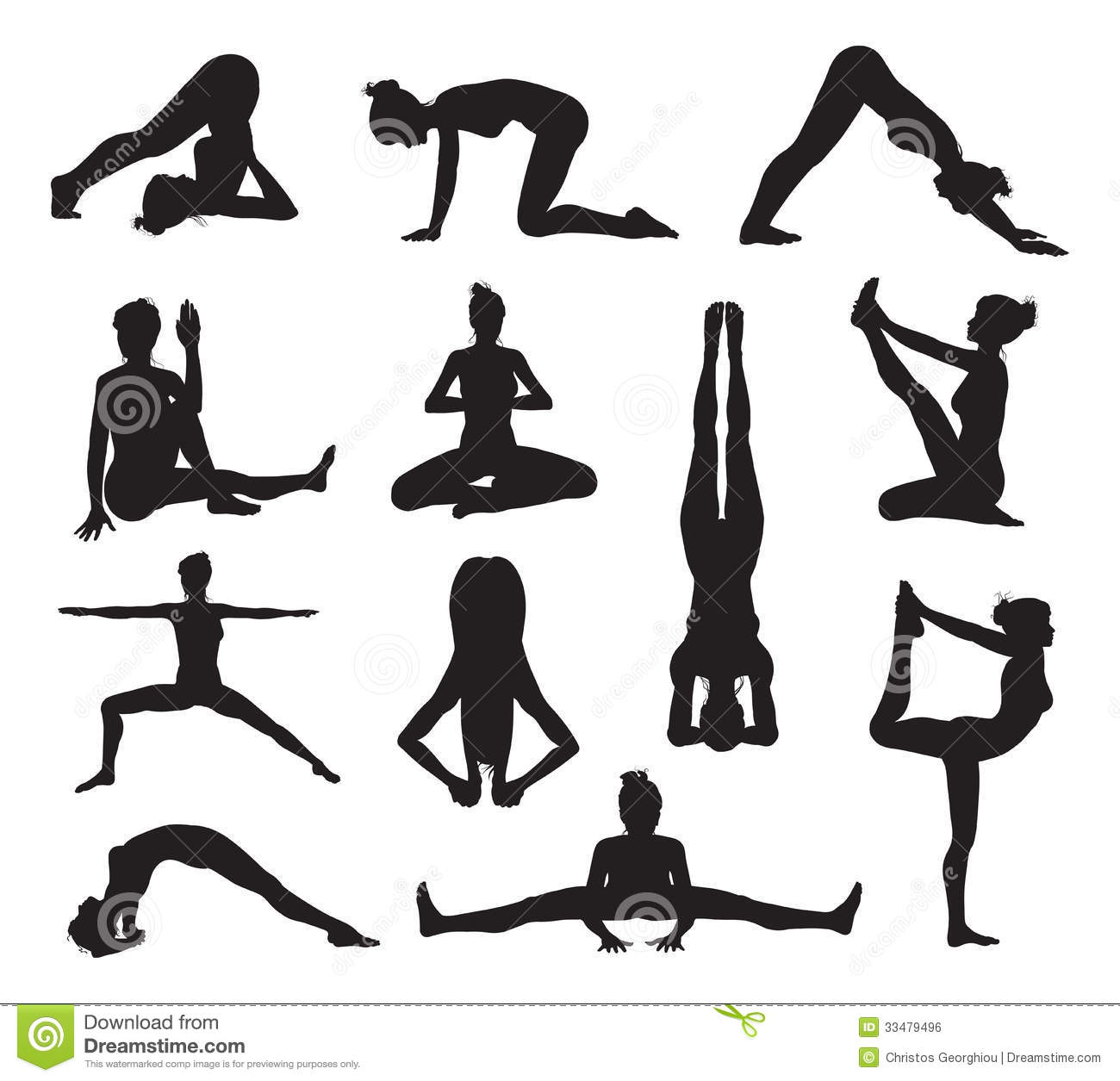 Yoga Or Pilates Poses Silhouettes Vector Illustration
