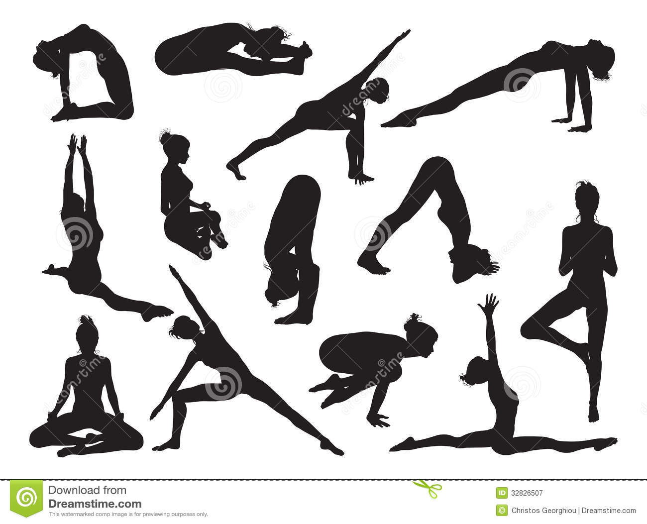 Yoga Pose Women Silhouettes Royalty Free Stock Photography