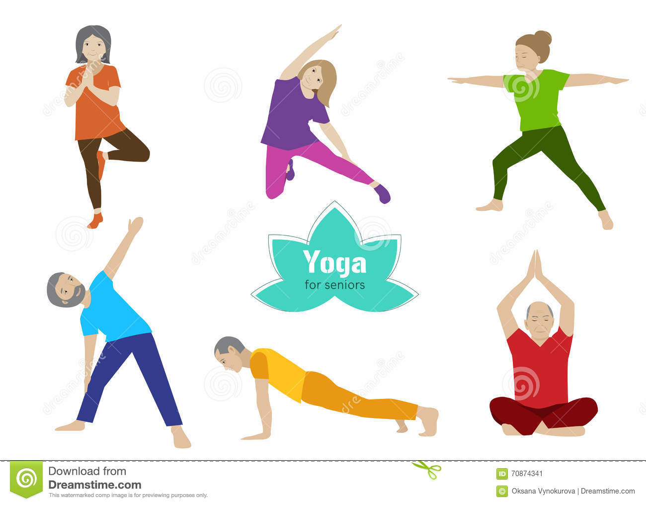 Yoga Senior Exercise Older People Sport Activity Stock Vector