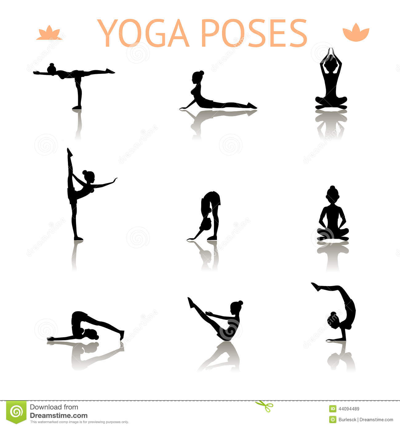 Yoga Silhouette Poses Stock Vector