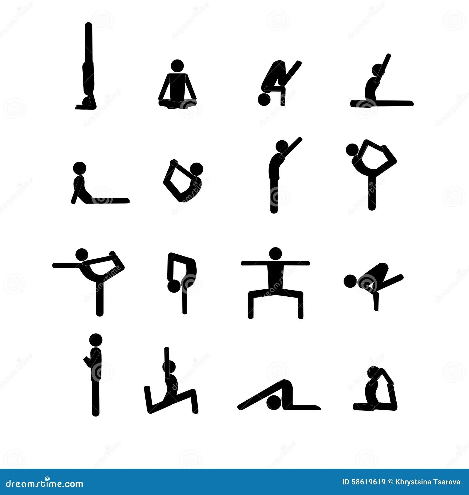 Yoga Poses Stick Figure Set Cartoon Vector