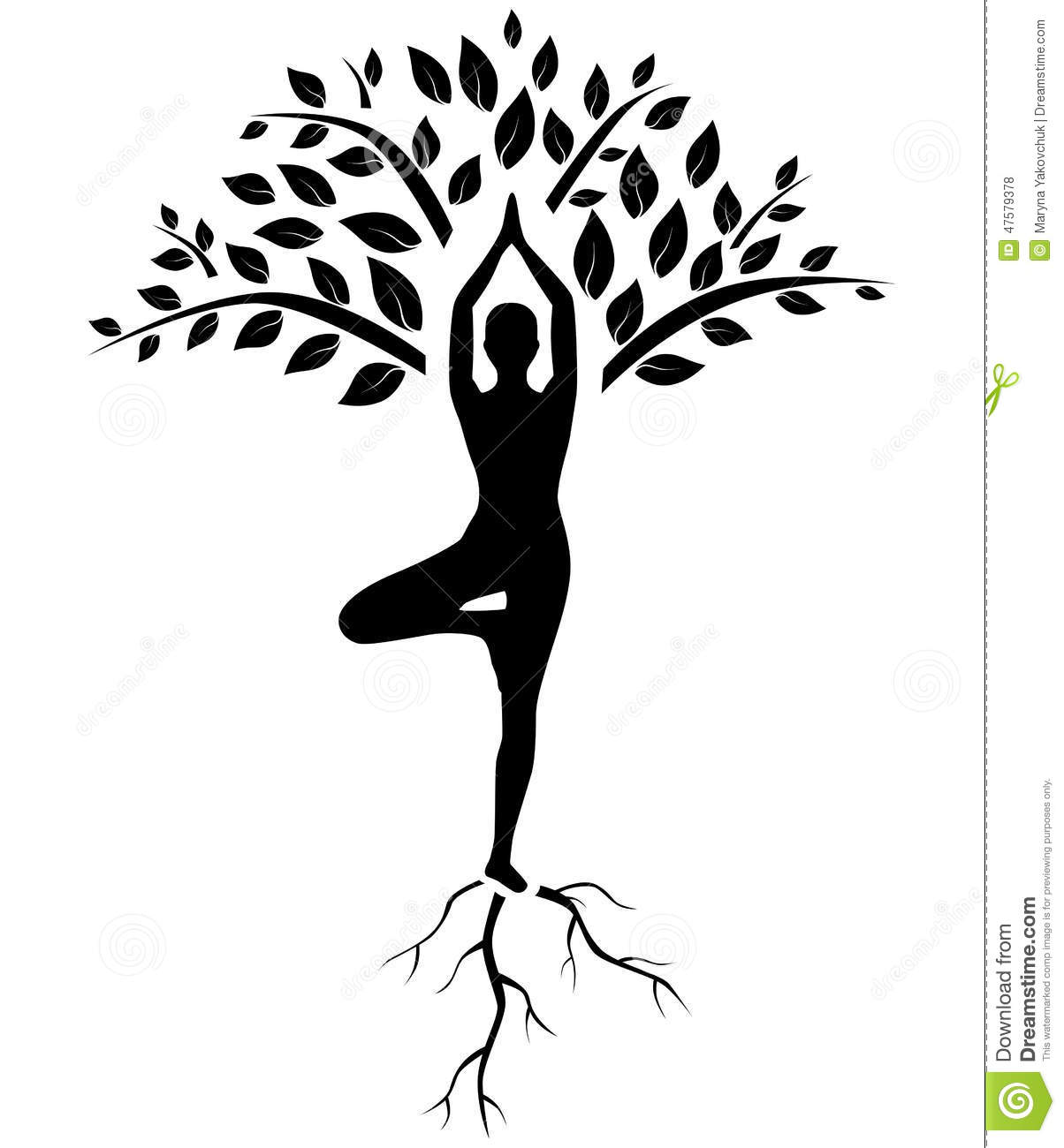 Yoga Tree Pose Silhouette Vector Illustration