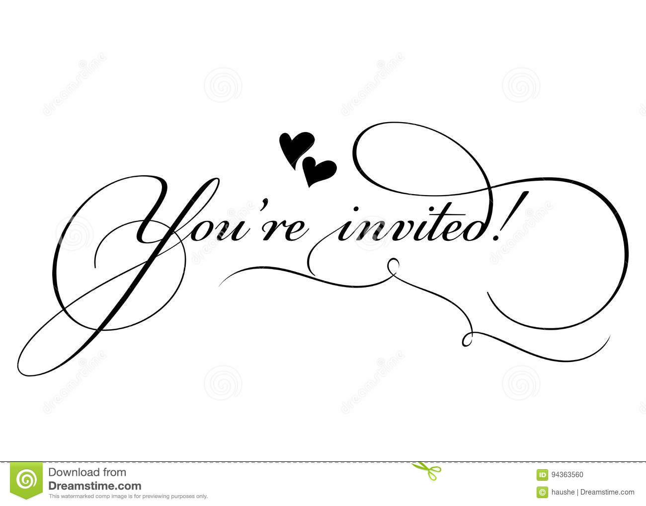 You Re Invited Vector Handmade Calligraphy With Twirl