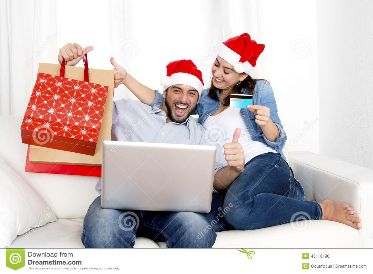 Young Attractive Hispanic Couple In Love Online Christmas