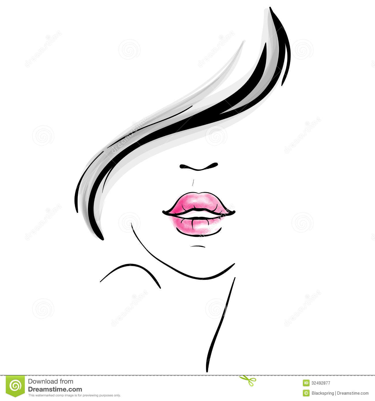 Young Beautiful Woman Portrait Sketch Stock Vector