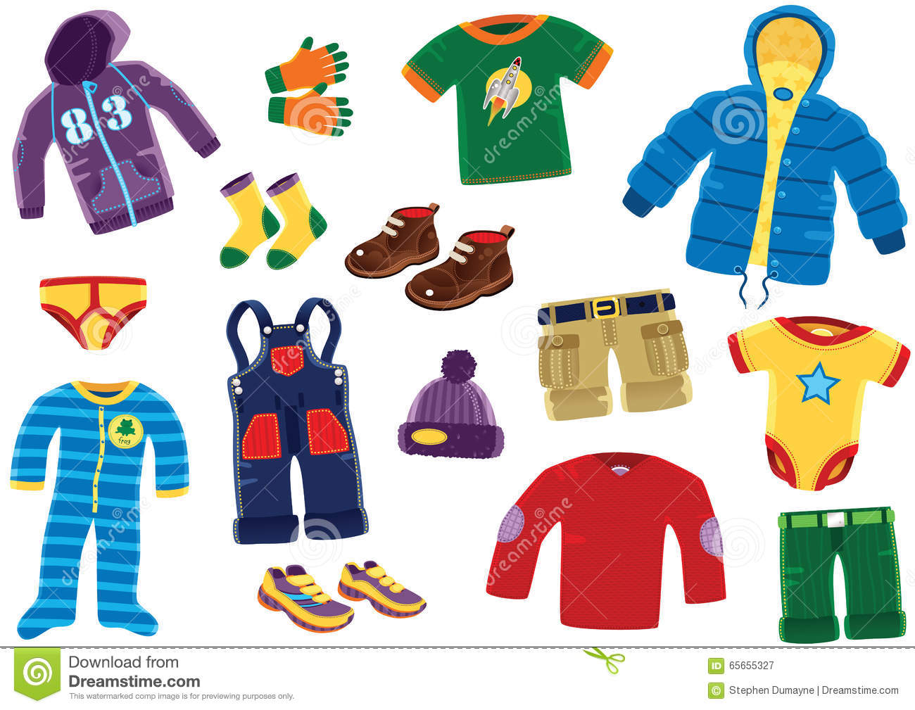 Young Boys Clothing Items Stock Vector Illustration Of