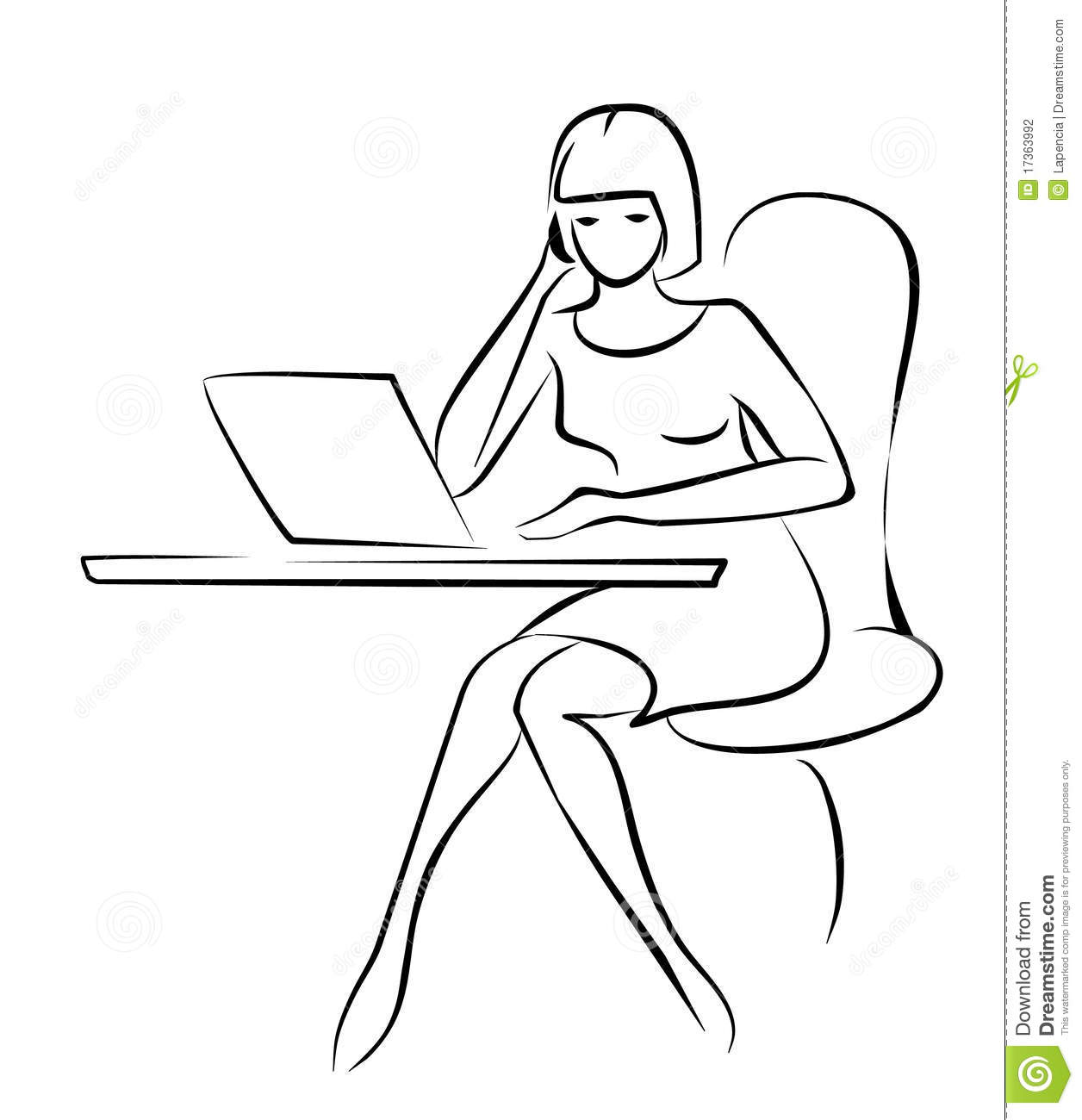 Young Business Woman Sketch In Black Lines Stock Photography