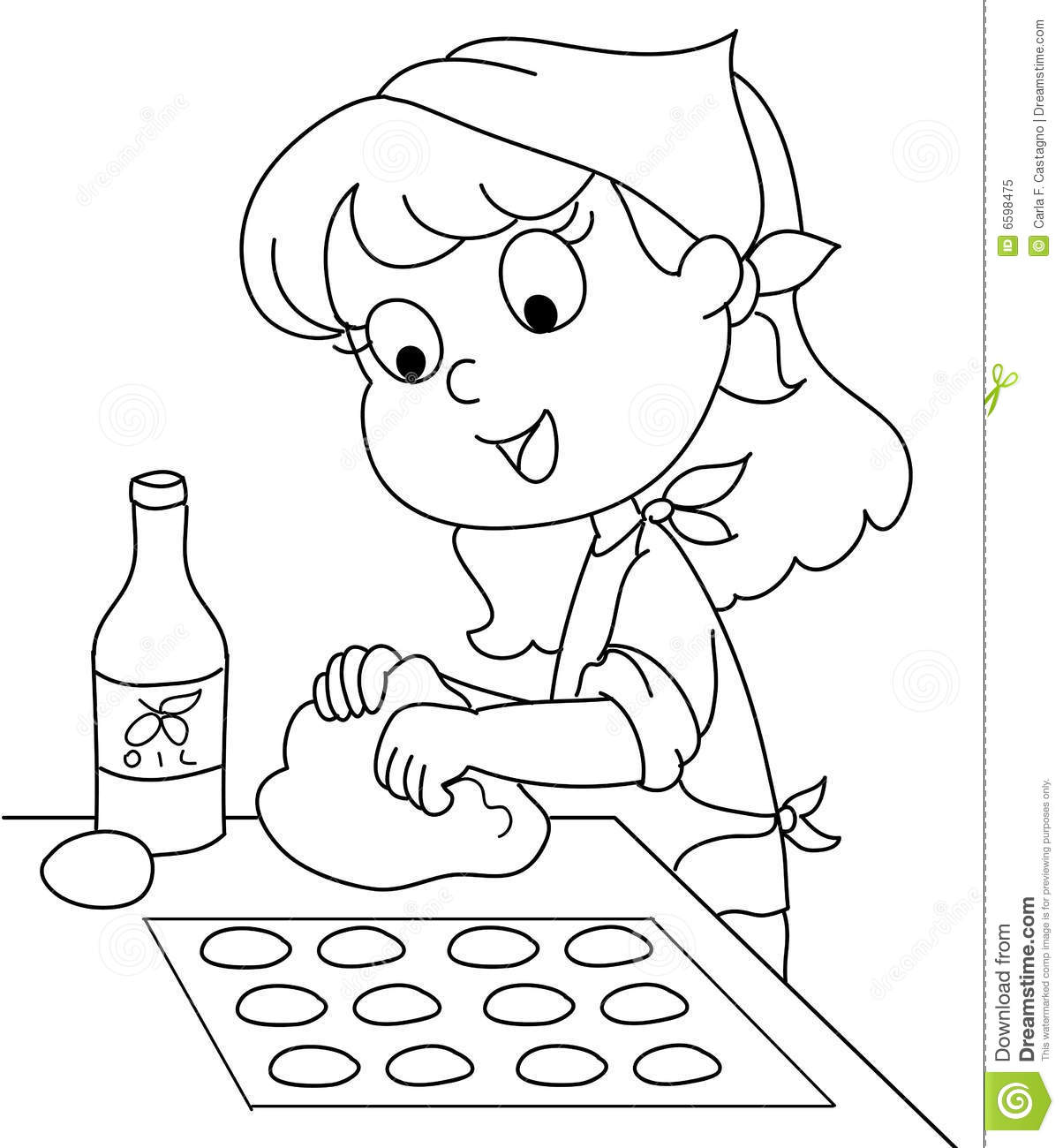 Young Chef Bw Vector Stock Vector Illustration Of Dough