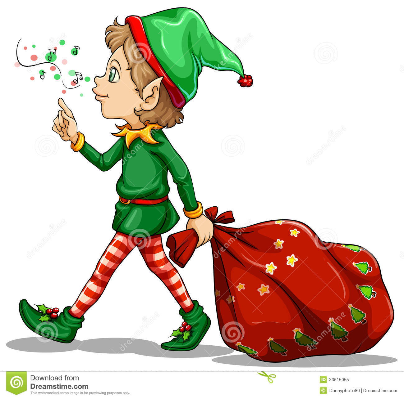 A Young Elf Dragging A Sack Of Gifts Royalty Free Stock