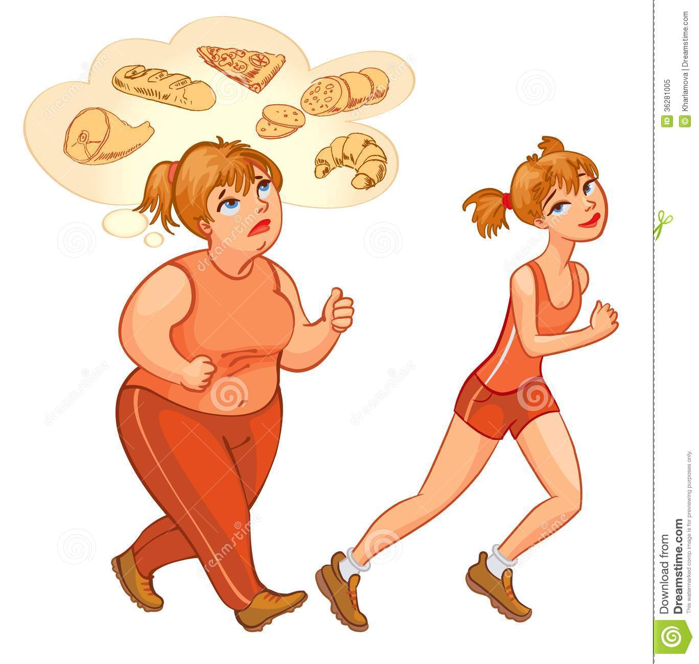 Young Fat And Thin Woman Jogging Stock Vector