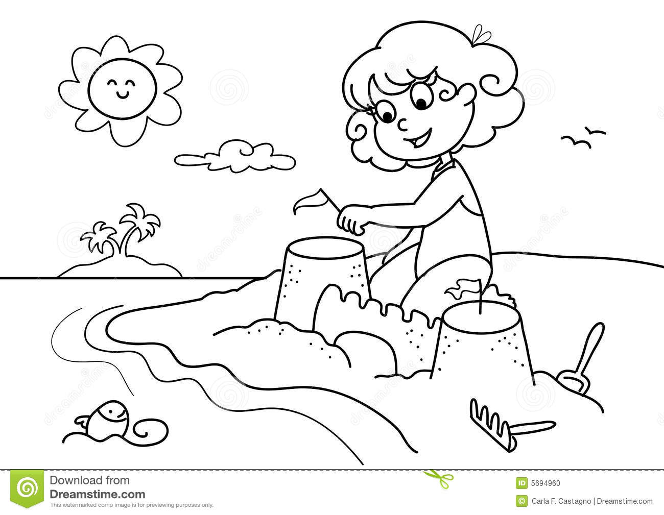 Young Girl At The Beach Bw Stock Photo