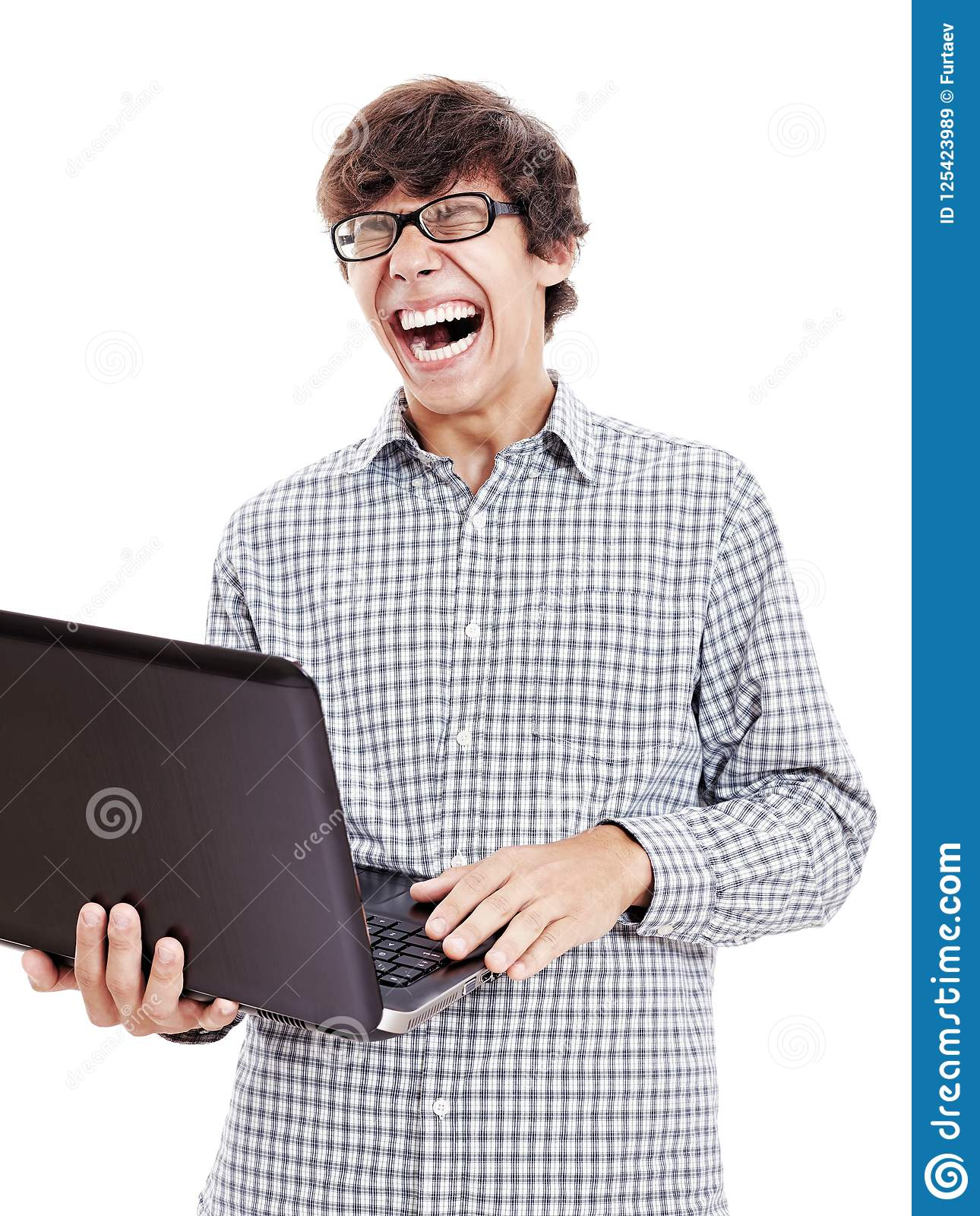 Guy Loudly Laughing With Laptop Stock Image Image Of Geeks Concept 125423989