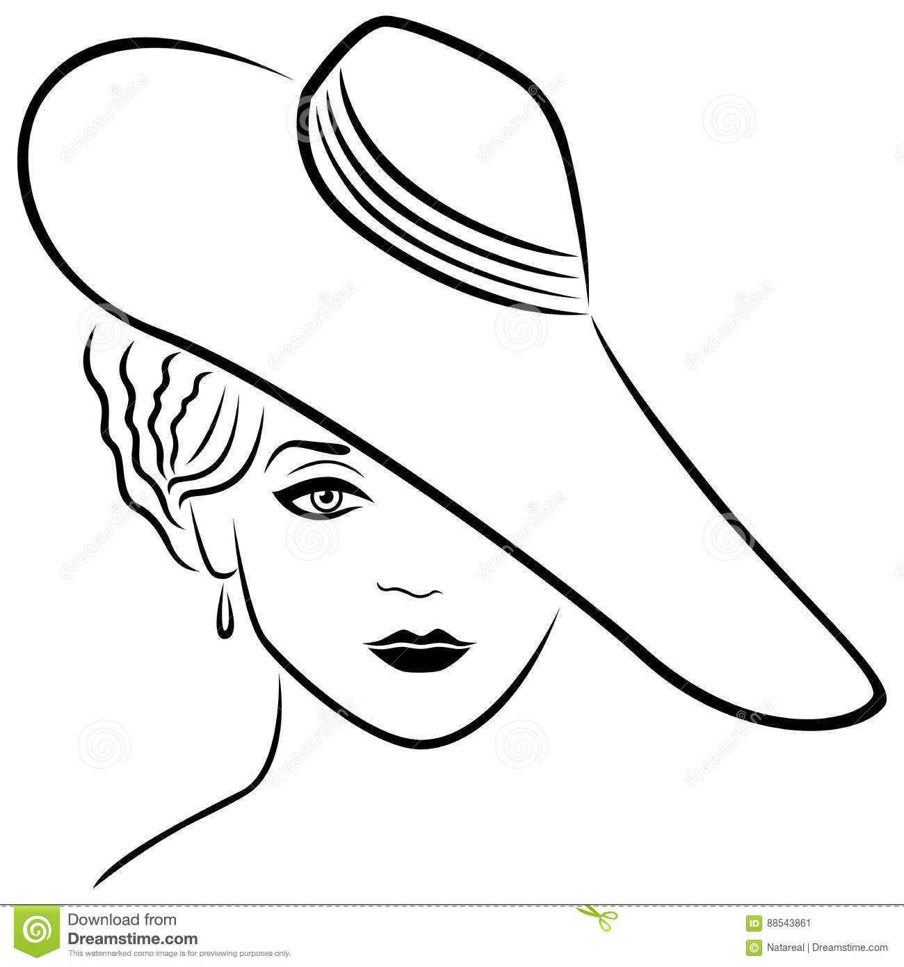 Young Lady In Hat Cartoon Vector