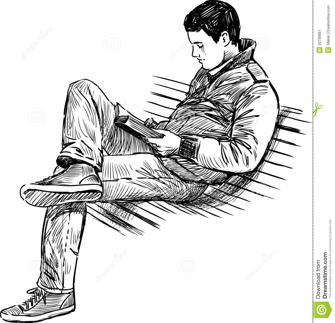 Young Man Reading A Book Stock Image Image Of Sitting