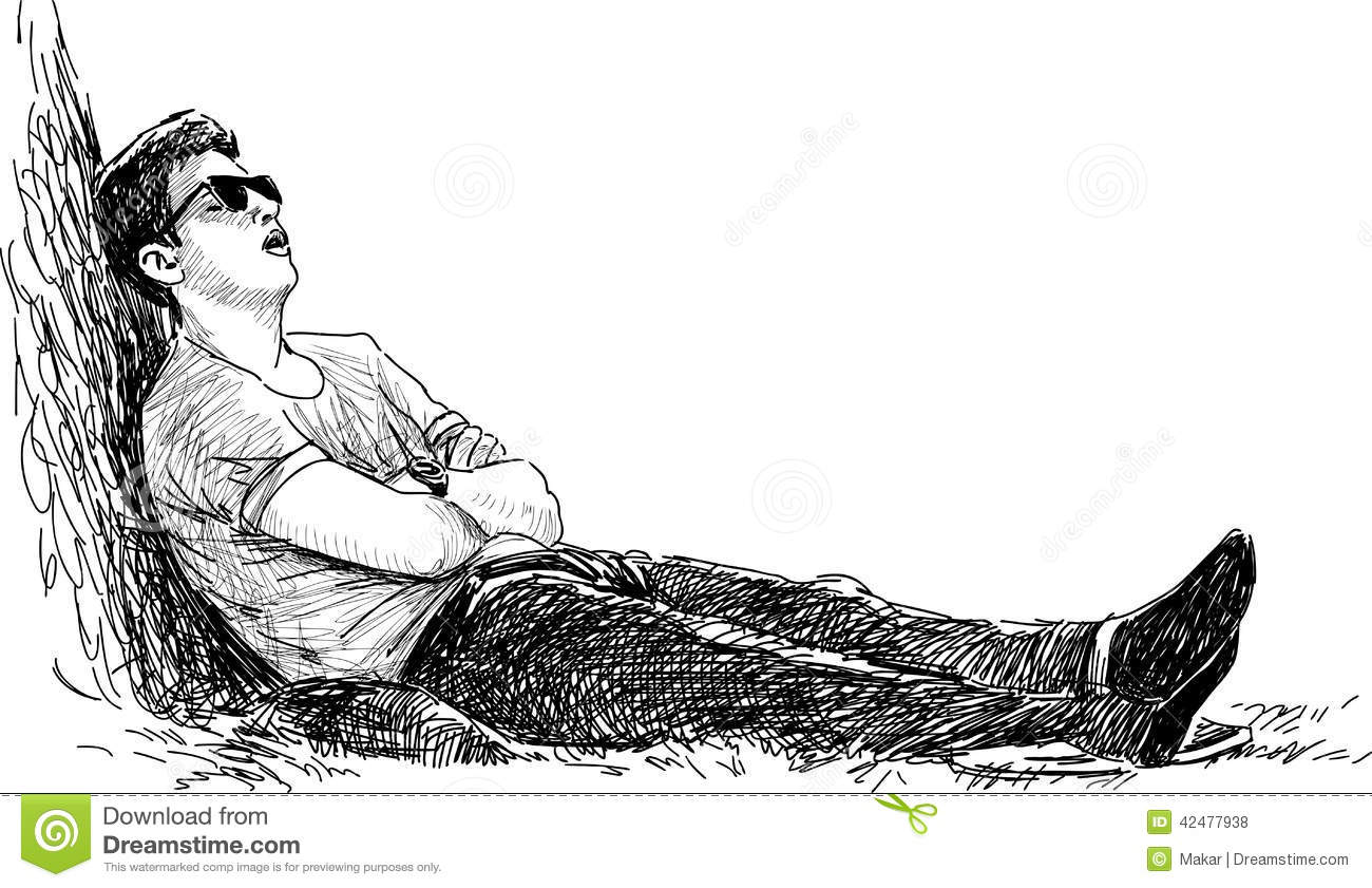 Young Man Sleeping In The Park Stock Vector