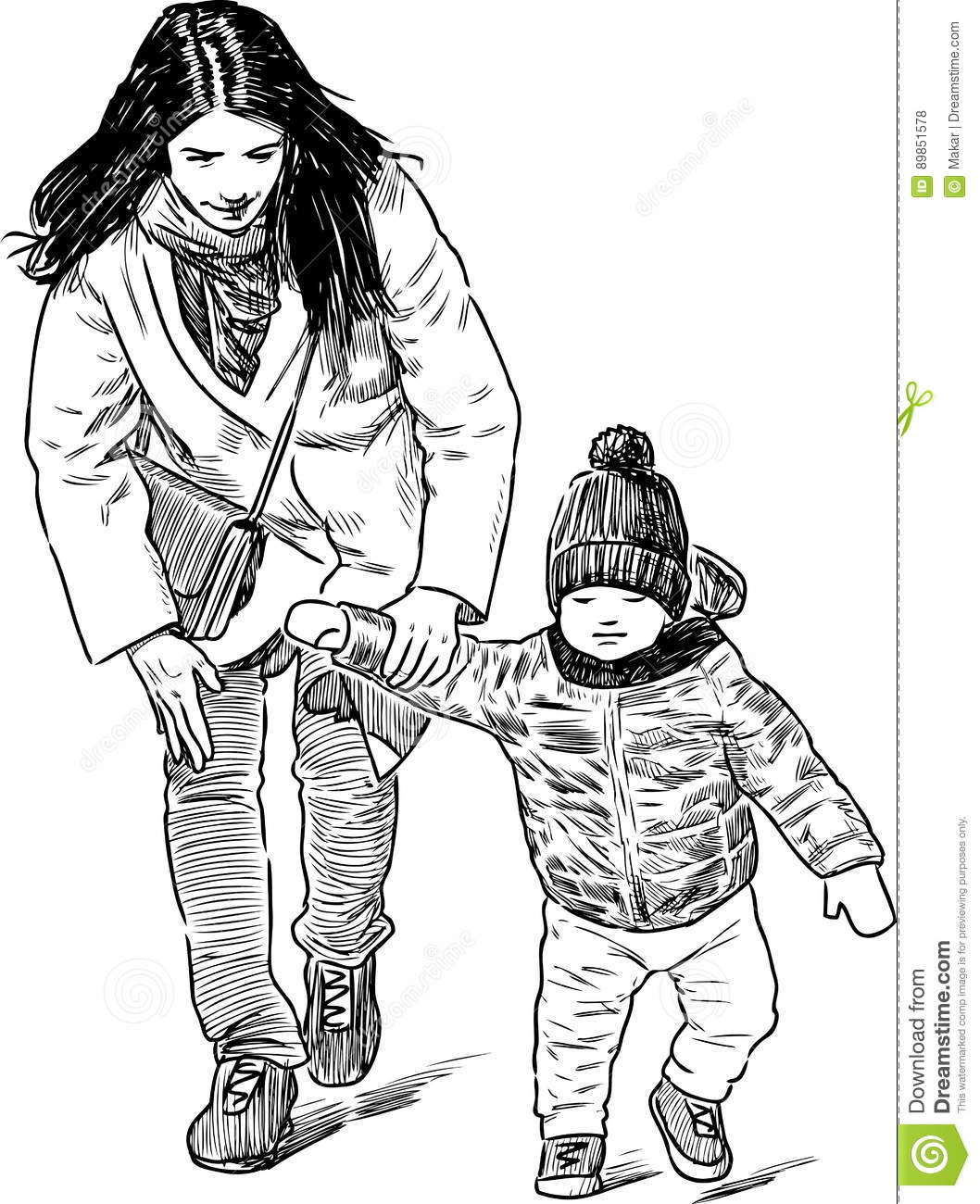 Young Mother With Her Kid Walking Stock Vector