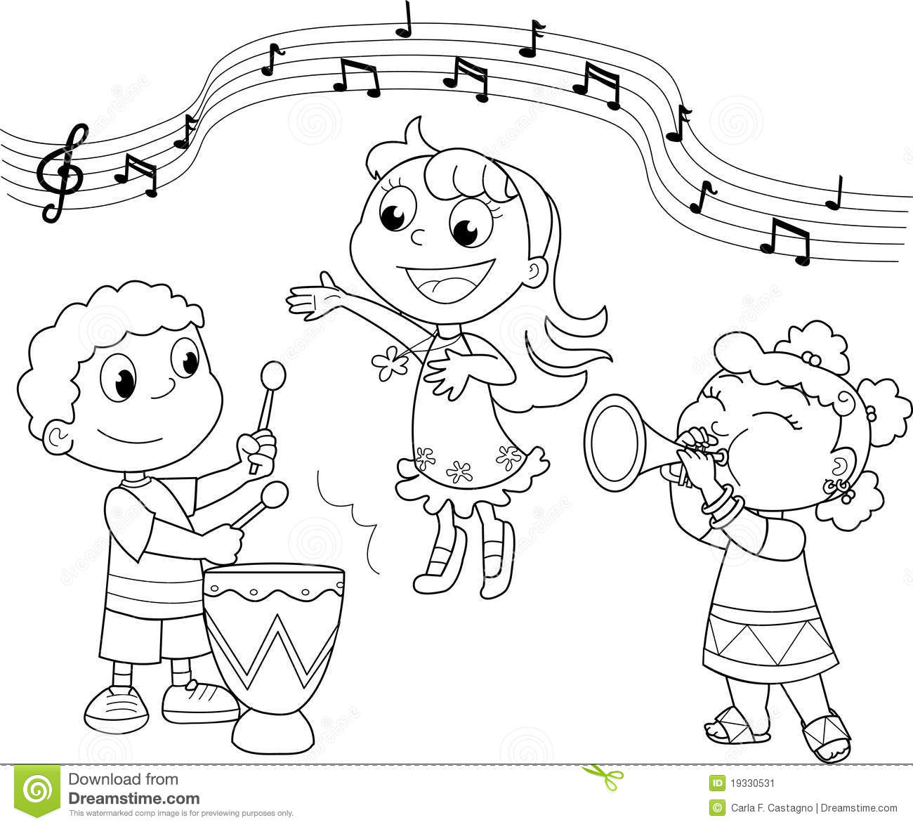 Young Music Band Stock Vector Illustration Of Girl Horn