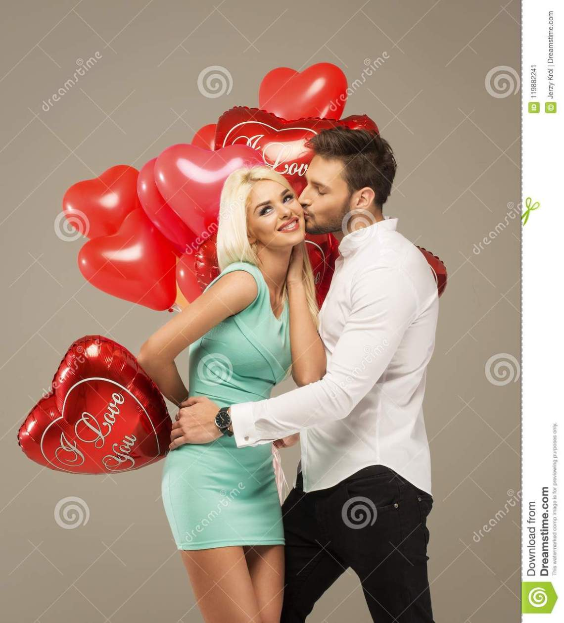 Download Loving Couple With Red Balloons Stock Image - Image of ...