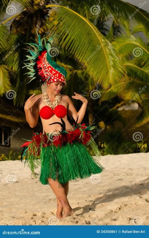 Young Polynesian Pacific Island Tahitian Woman Dancer ...