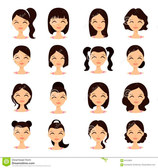 young pretty women pretty faces with different hairstyles