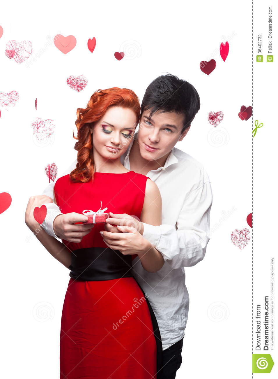 Young Smiling Couple On Valentines Day Stock Photo Image