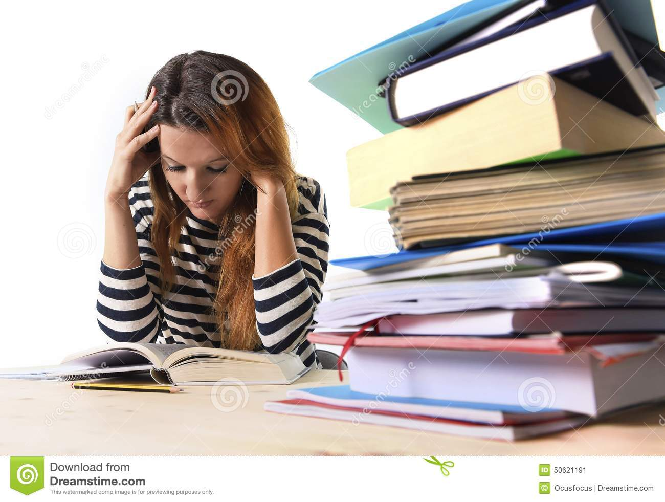 Young Stressed Student Girl Studying And Preparing Mba