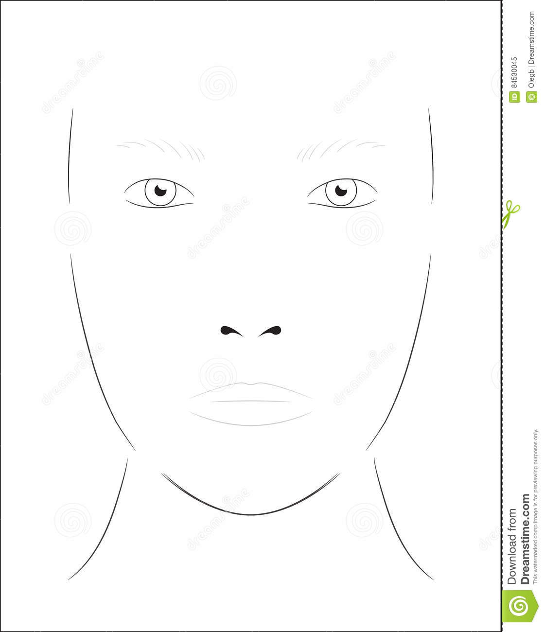 Young Woman Face Chart Makeup Artist Blank Template