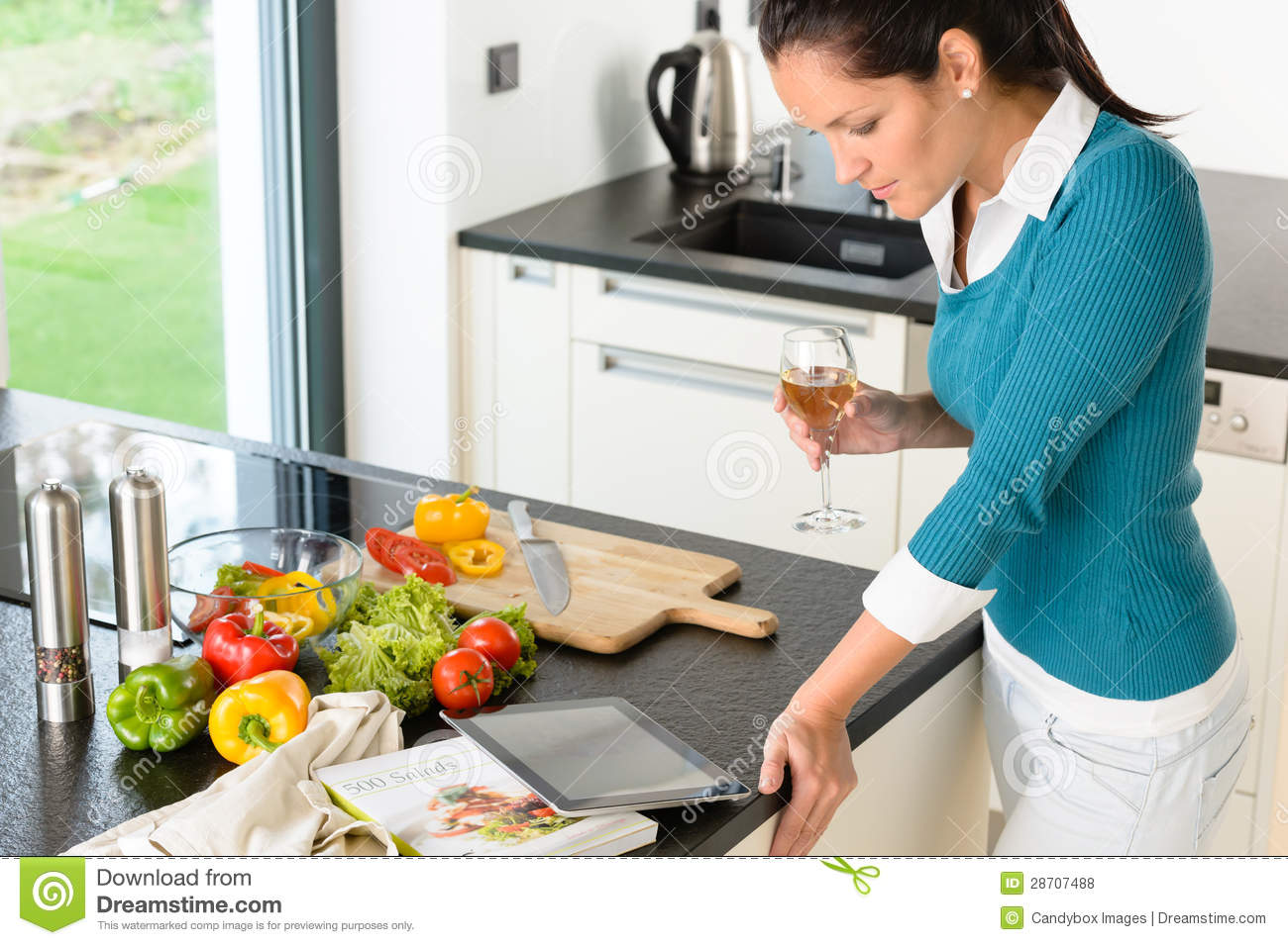 Young Woman Reading Tablet Recipe Kitchen Cooking Stock Photo Image 28707488
