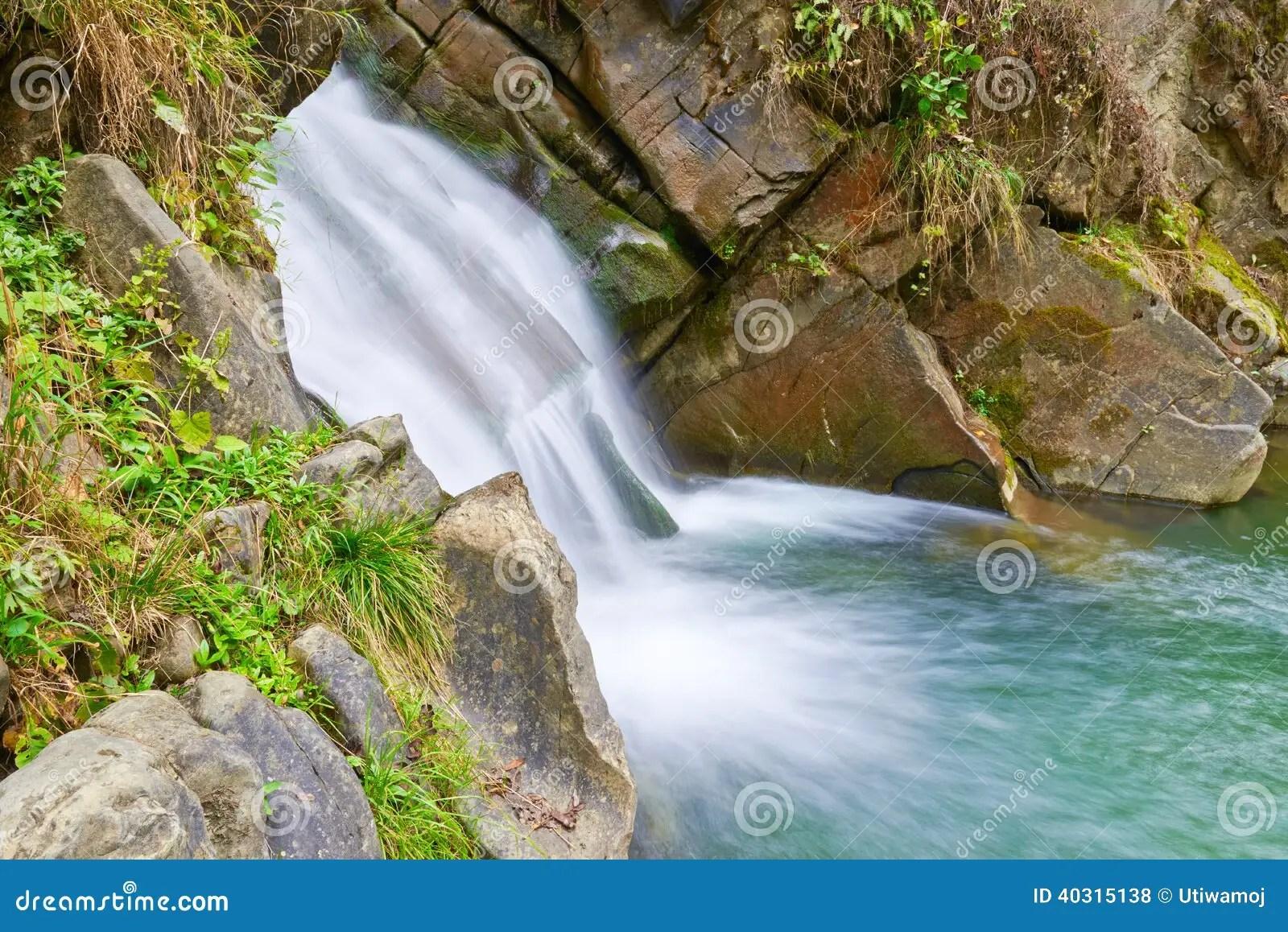 The Zaskalnik Waterfall Natural Source Of Water Stock Photo