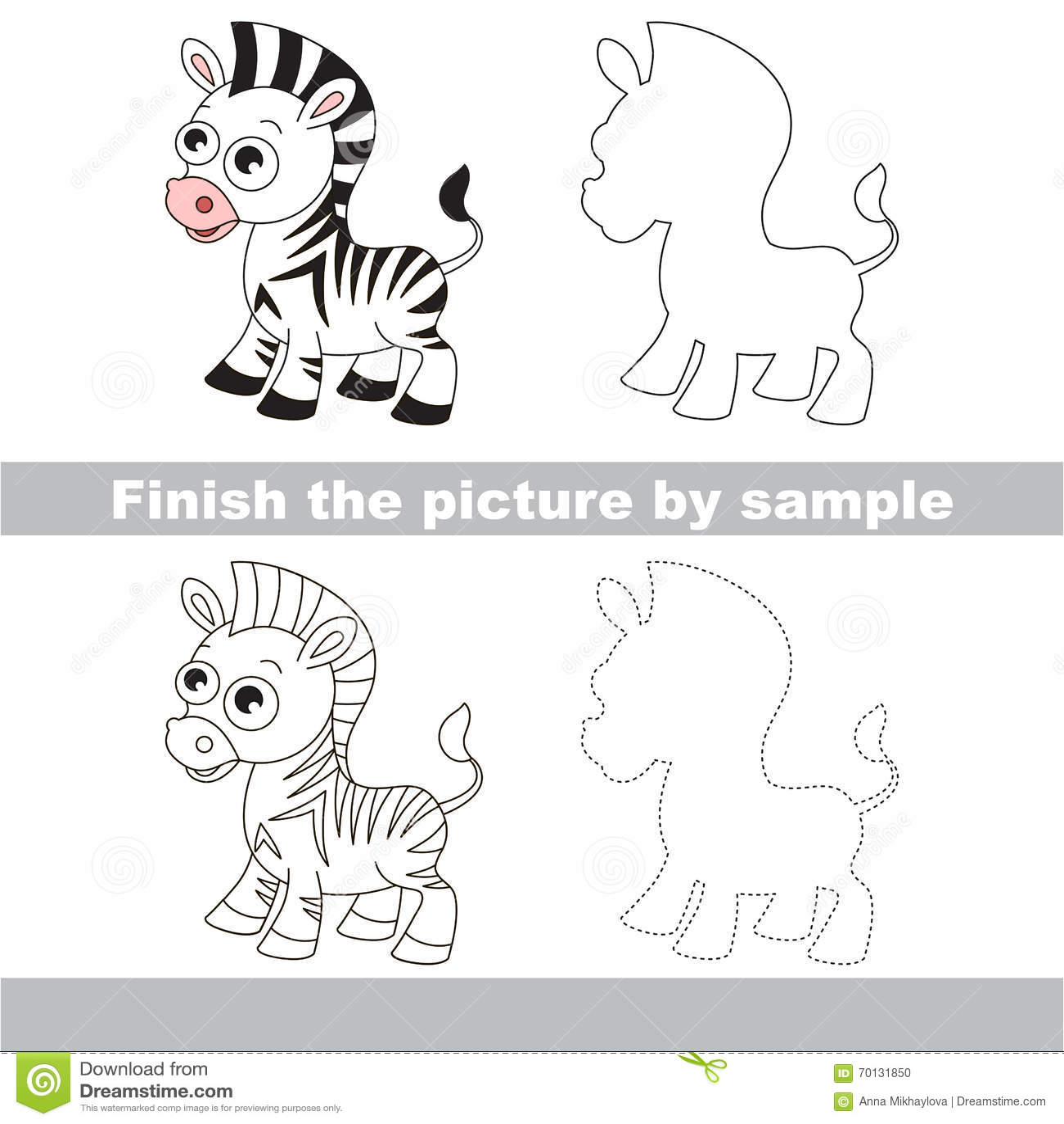 Zebra Drawing Worksheet Stock Illustration Illustration