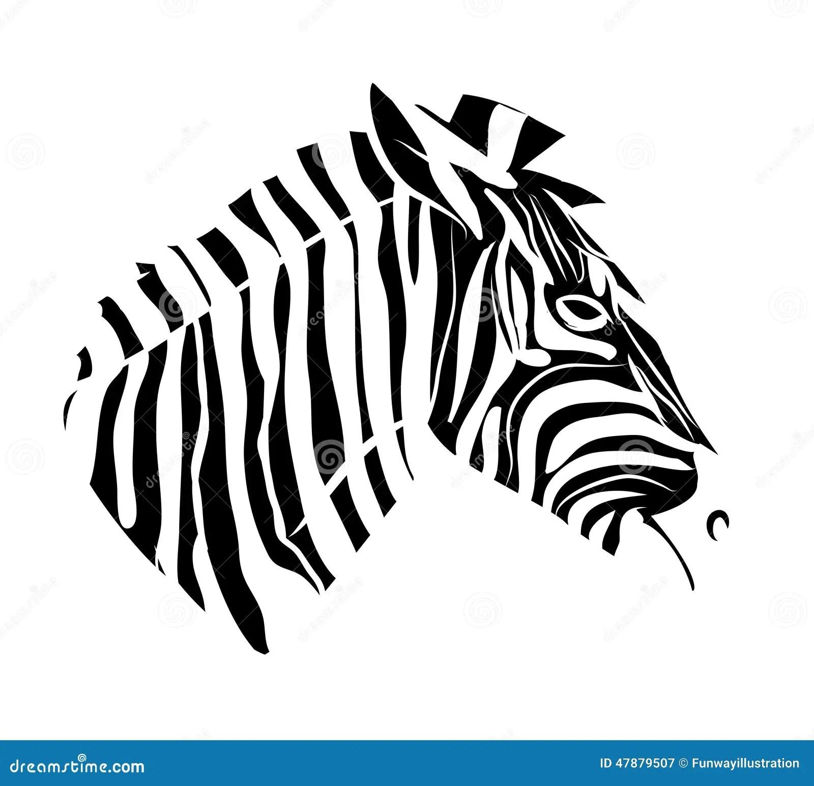 Zebra Head Tattoo Stock Illustration
