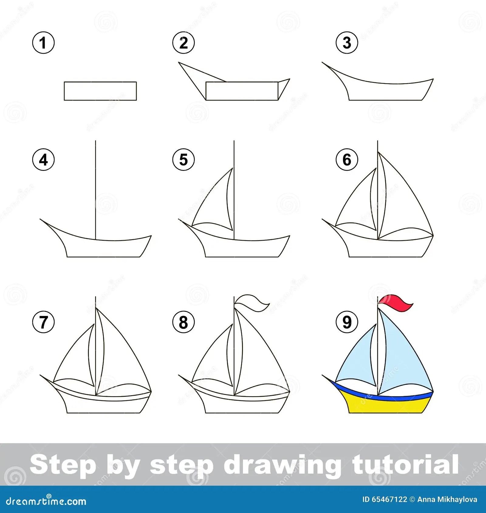 Zeichnendes Tutorium Wie Man Ein Boot Zeichnet Vektor