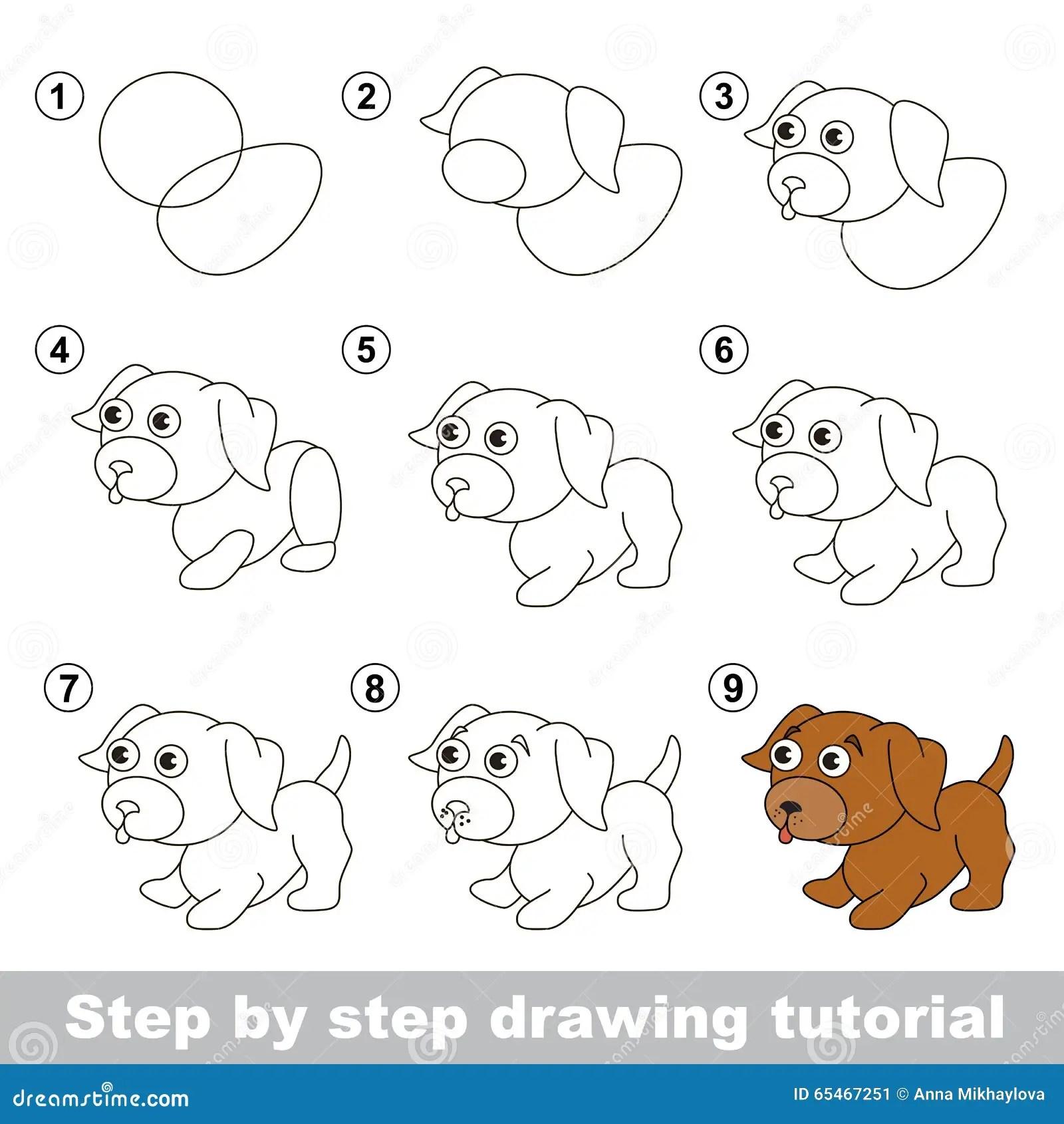 Zeichnendes Tutorium Wie Man Einen Kleinen Welpen Zeichnet