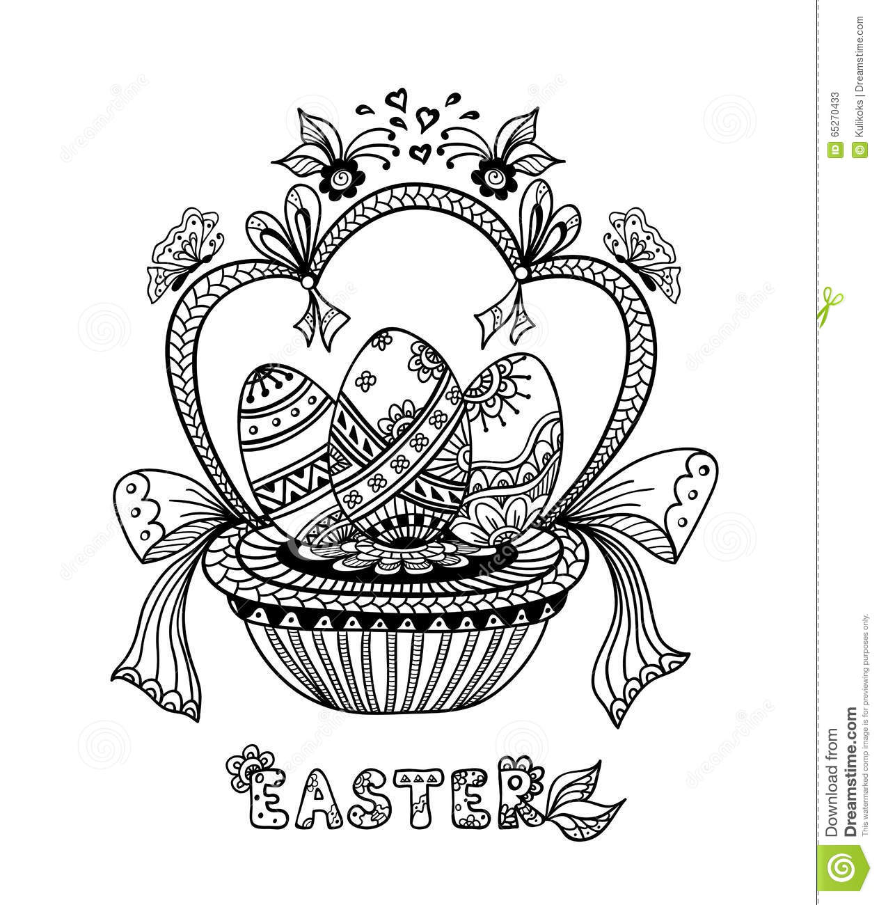 Easter Eggs In A White Basket Royalty Free Stock Photo