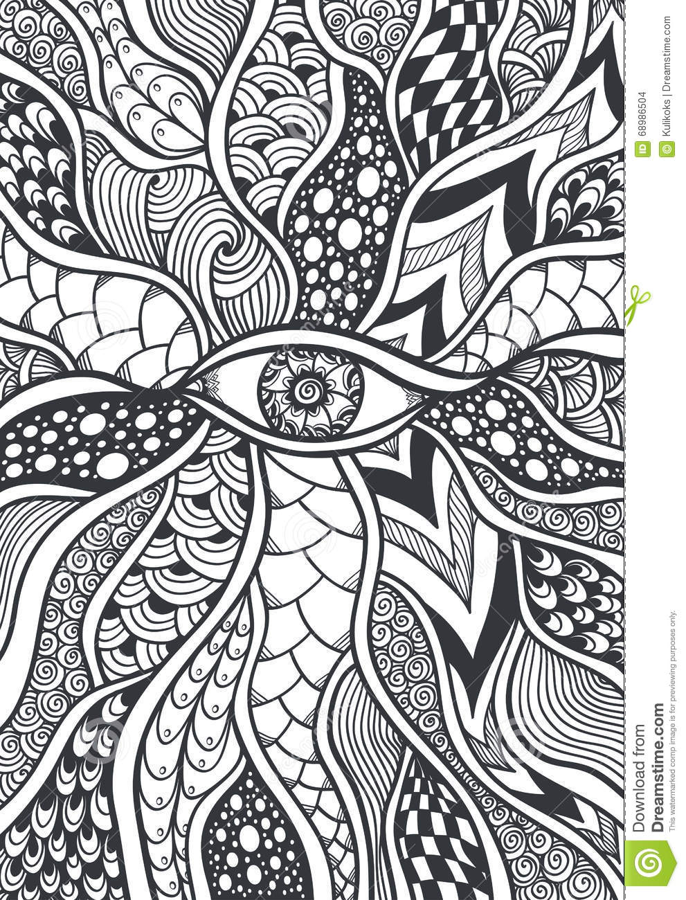 Zen Doodle Or Zen Tangle Texture Or Pattern With Eye Black On