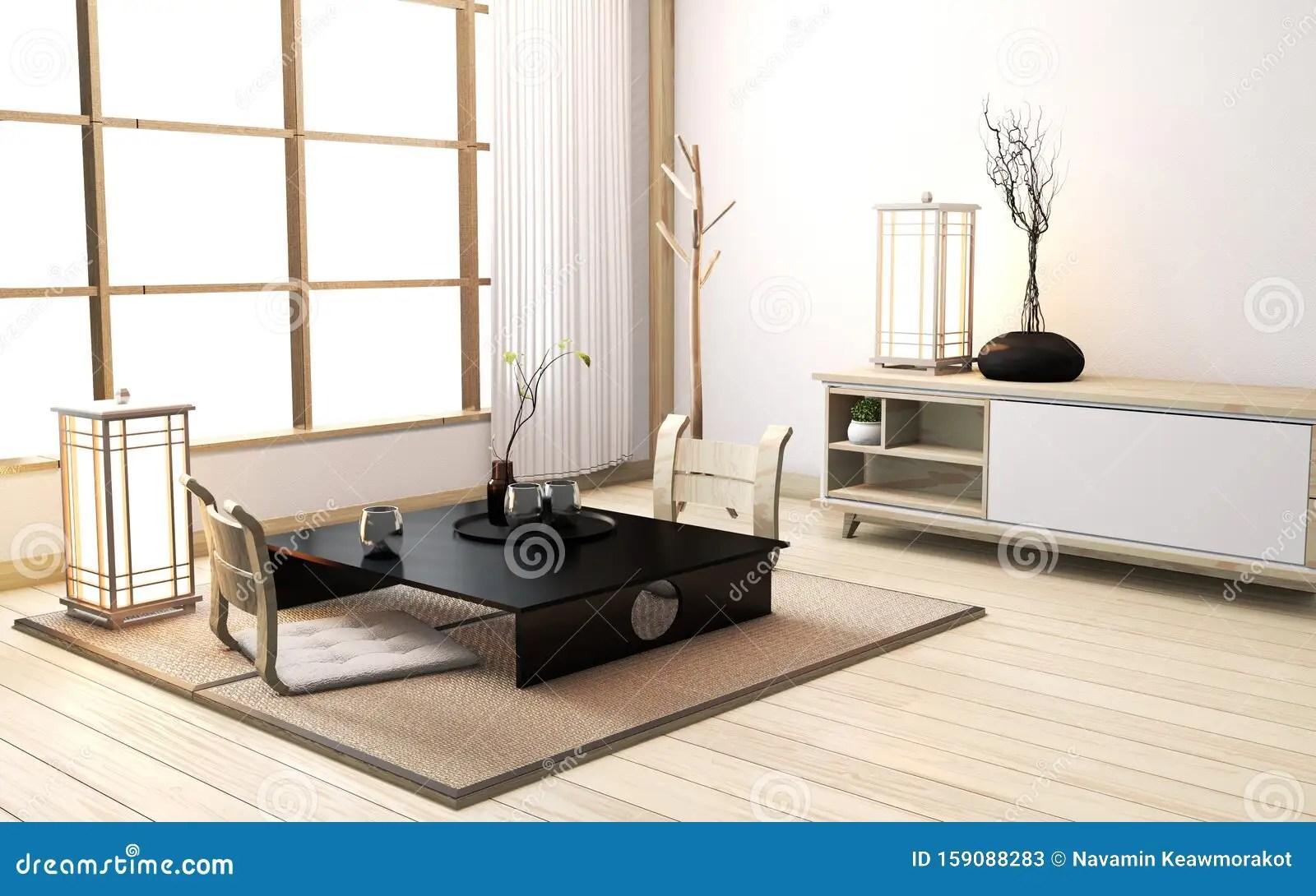 https www dreamstime com zen room interior low table pillow tatami mat wooden room japanese style d rendering mock up zen room interior image159088283