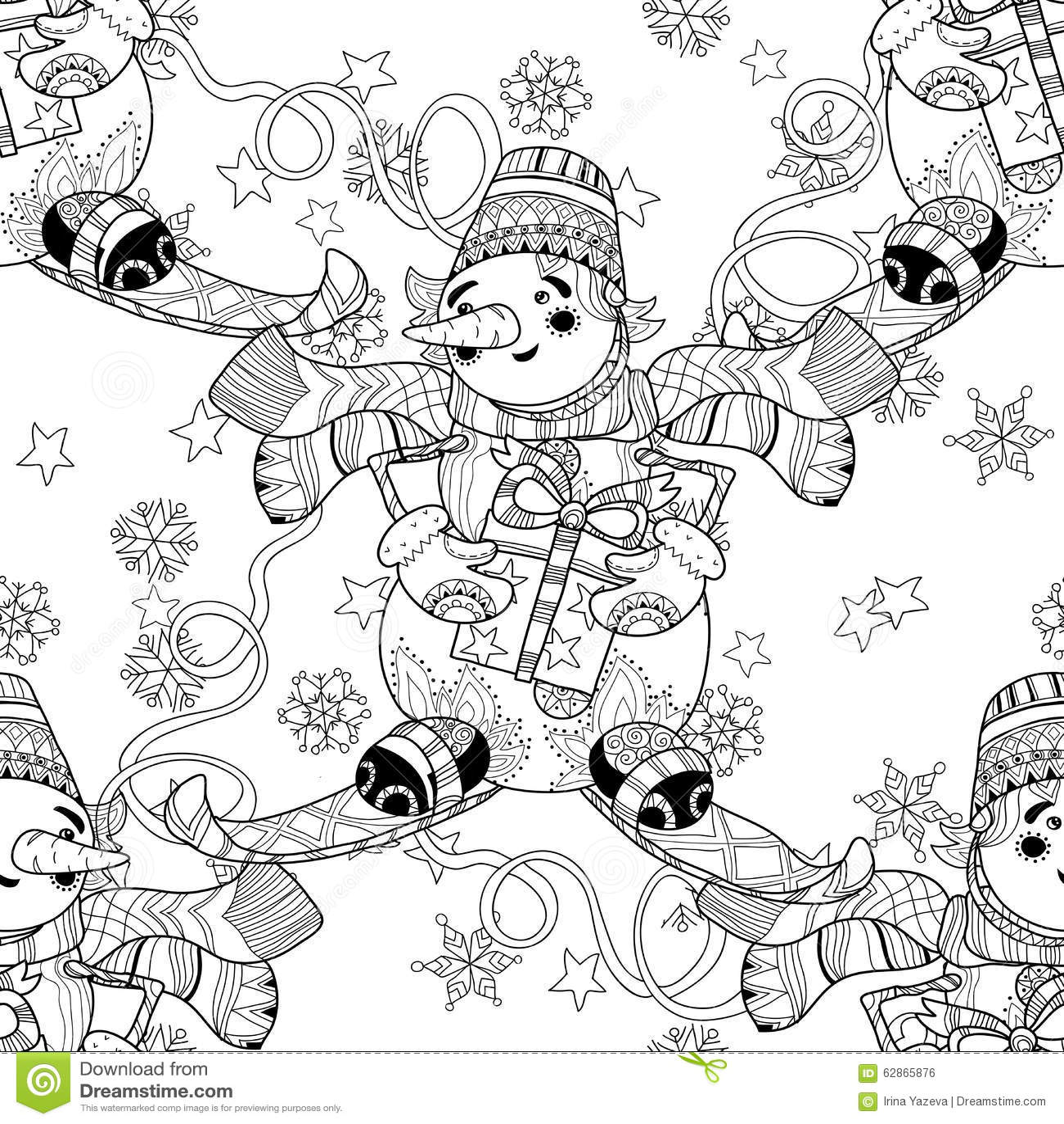 Zentangle Doodle Hand Drawn Christmas Snowman Ski Stock