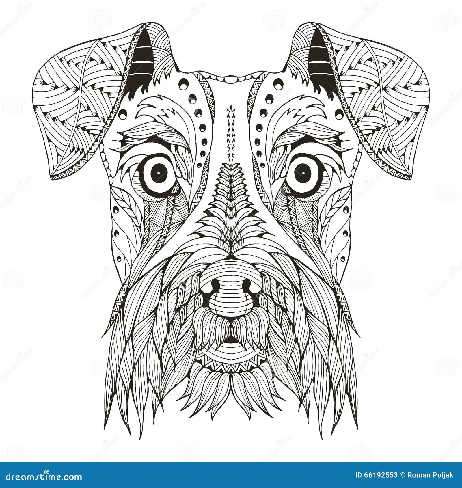Zentangle For Schnauzerhundhuvudet Stiliserade Vektorn