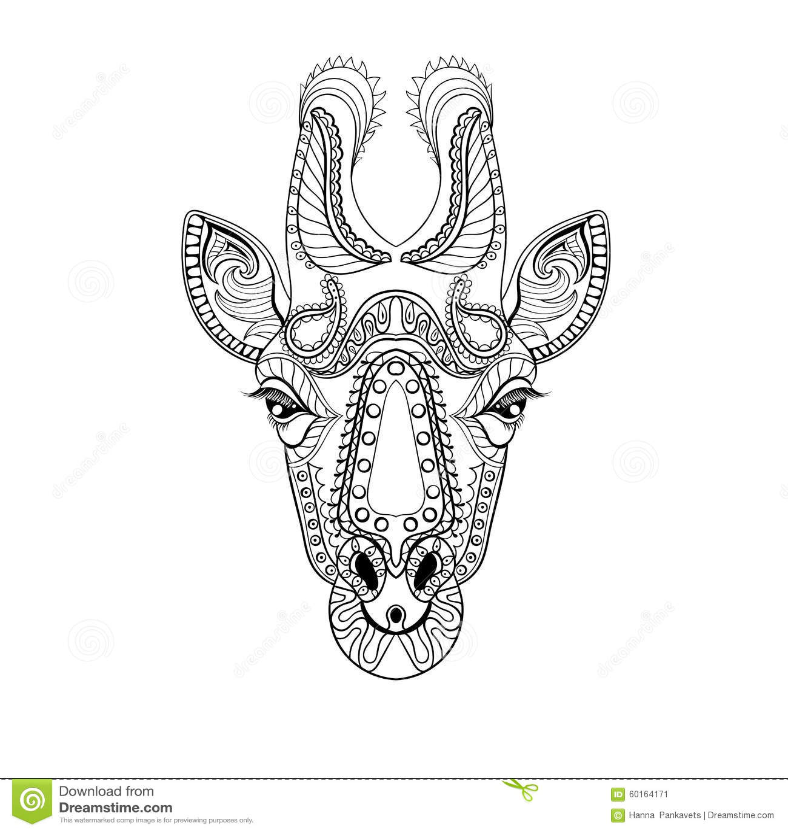 Zentangle Giraffe Head Totem For Adult Anti Stress