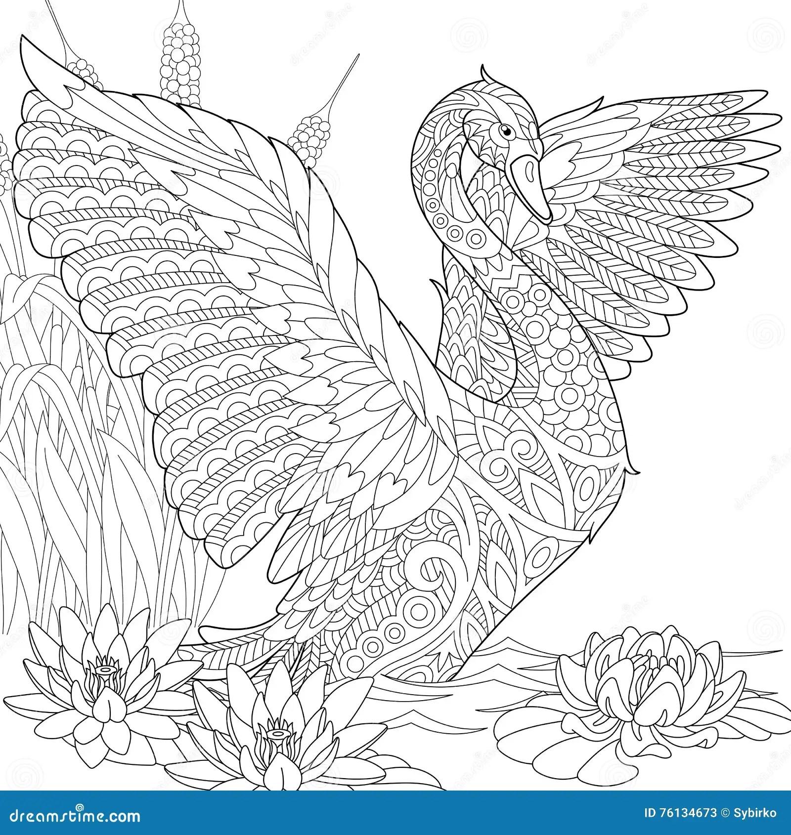 Zentangle Ha Stilizzato Il Cigno Illustrazione Vettoriale