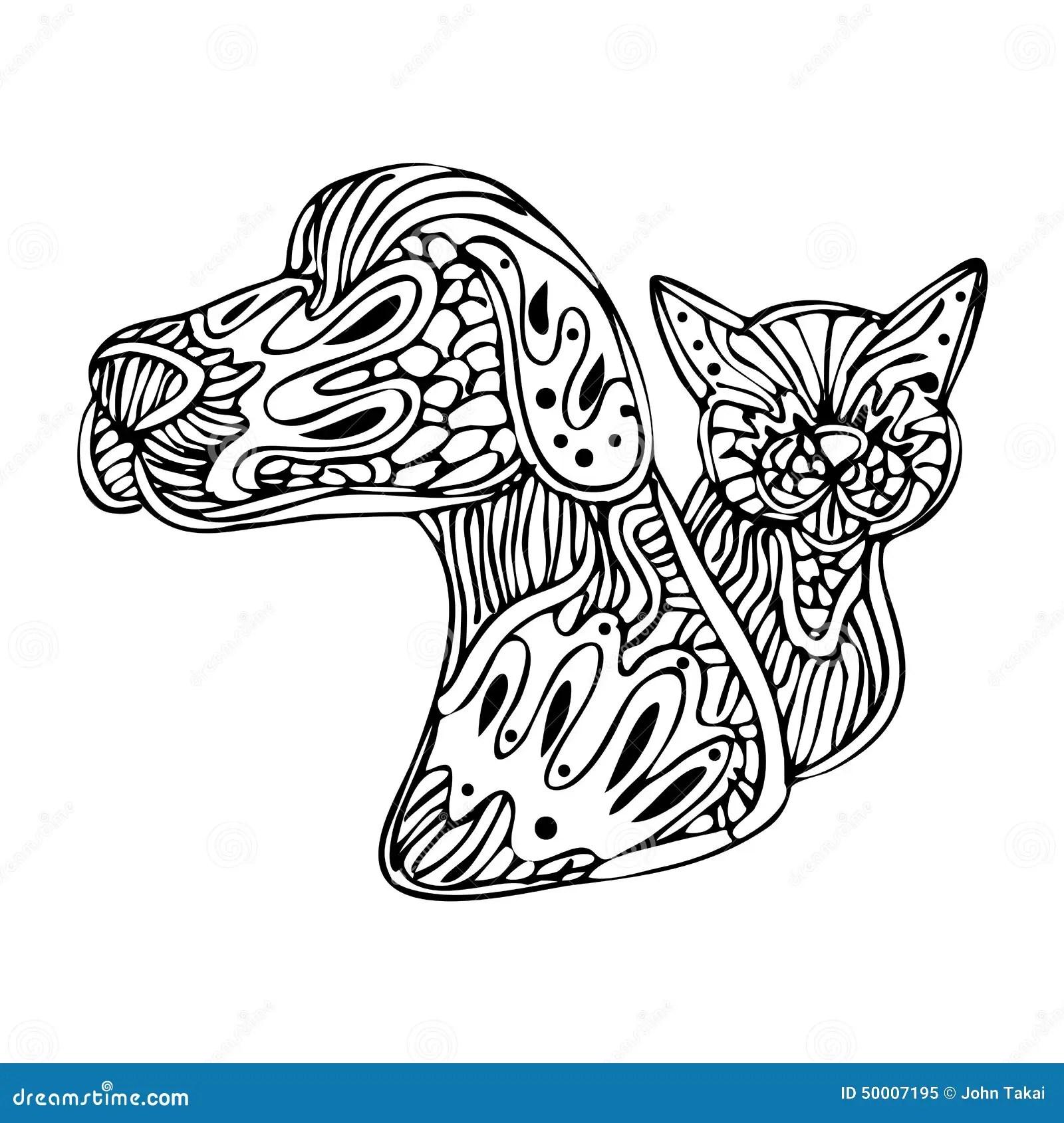 Zentangle Hund Och Katt Vektor Illustrationer