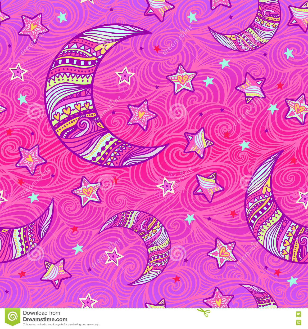 Zentangle Moon And Stars Pattern Stock Vector