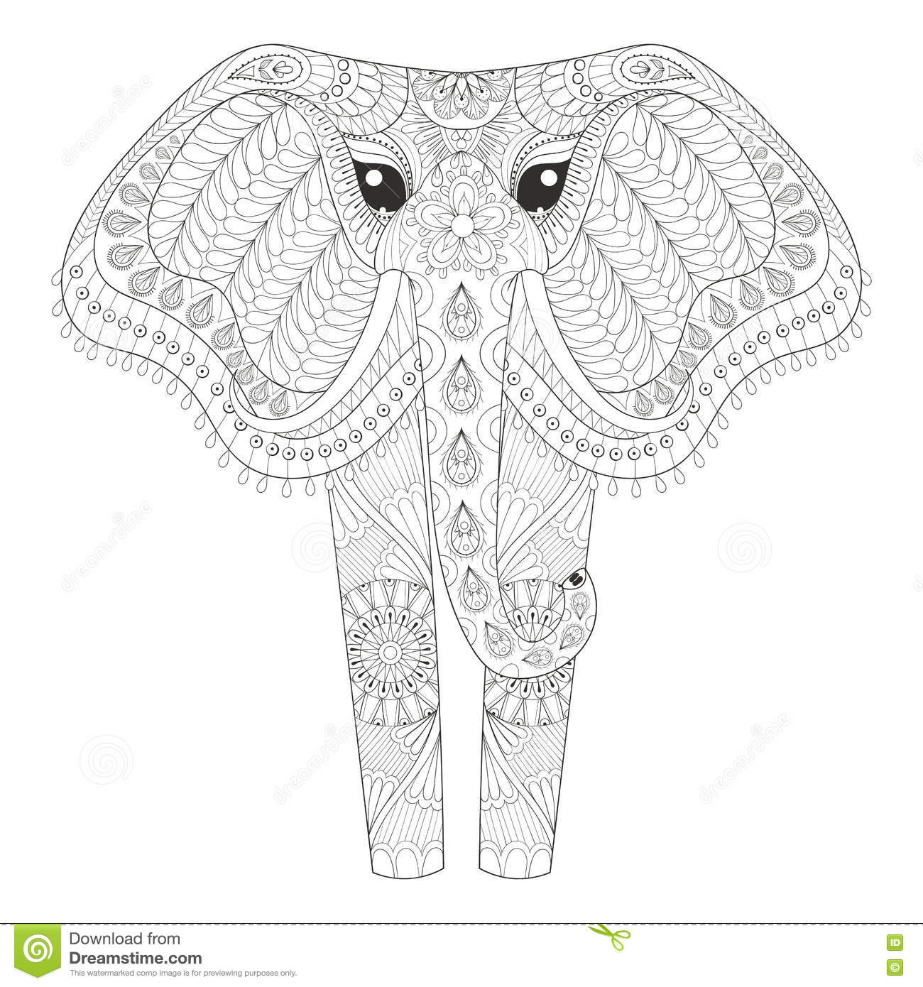 Zentangle Ornamental Elephant For Adult Coloring Pages Hand Dra