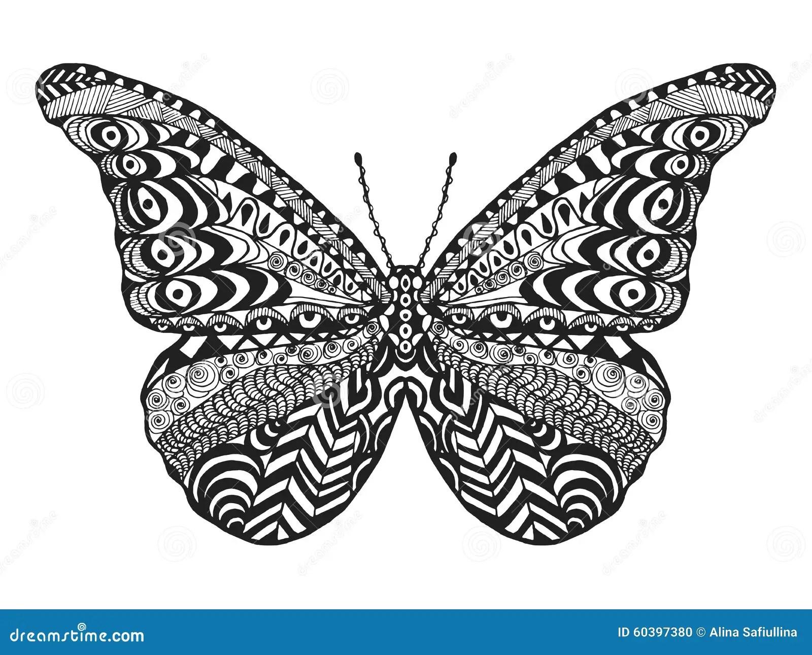 Zentangle Stilisierte Schmetterling Vektor Abbildung