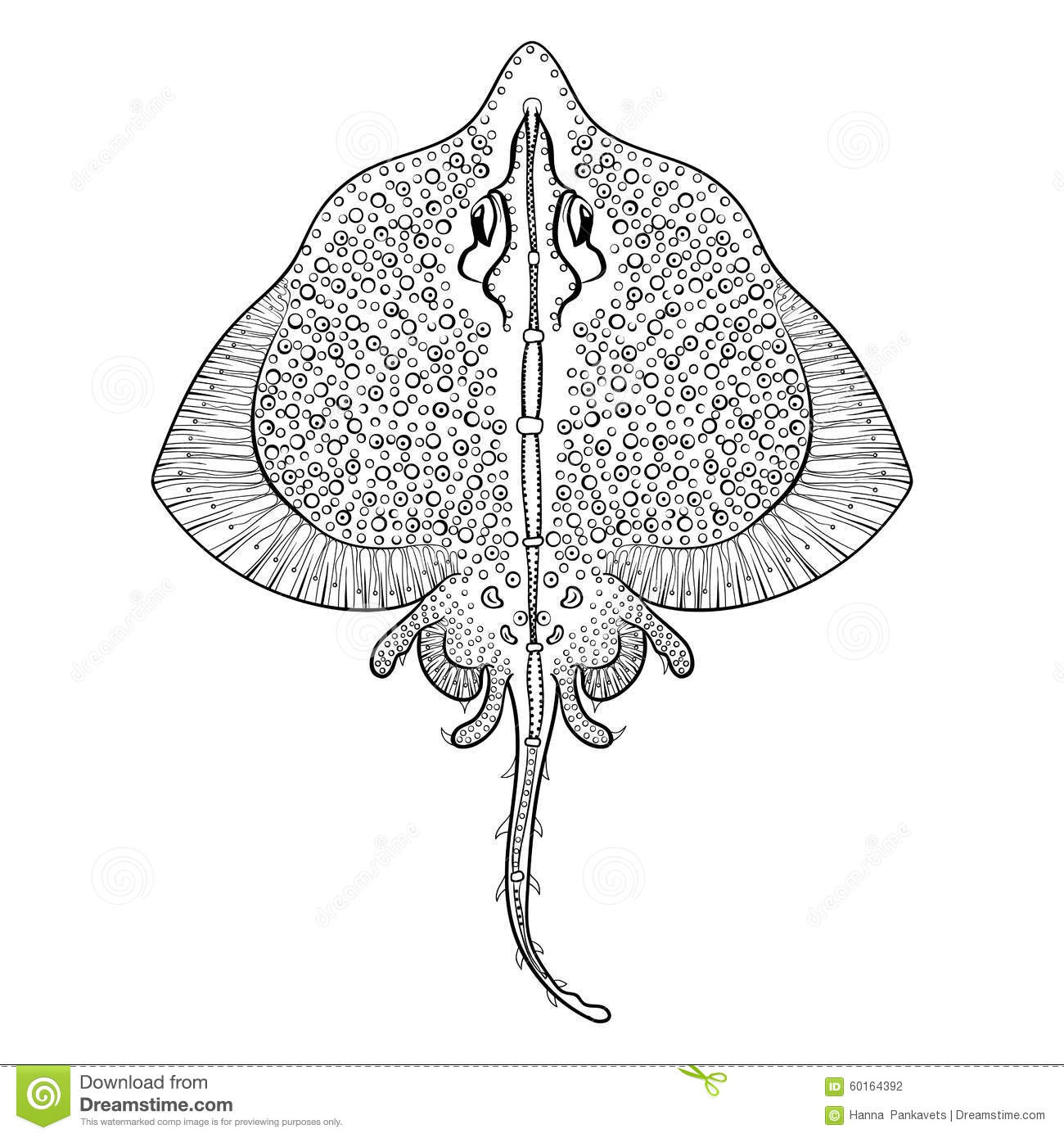 zentangle stingray totem for adult anti stress coloring page stock
