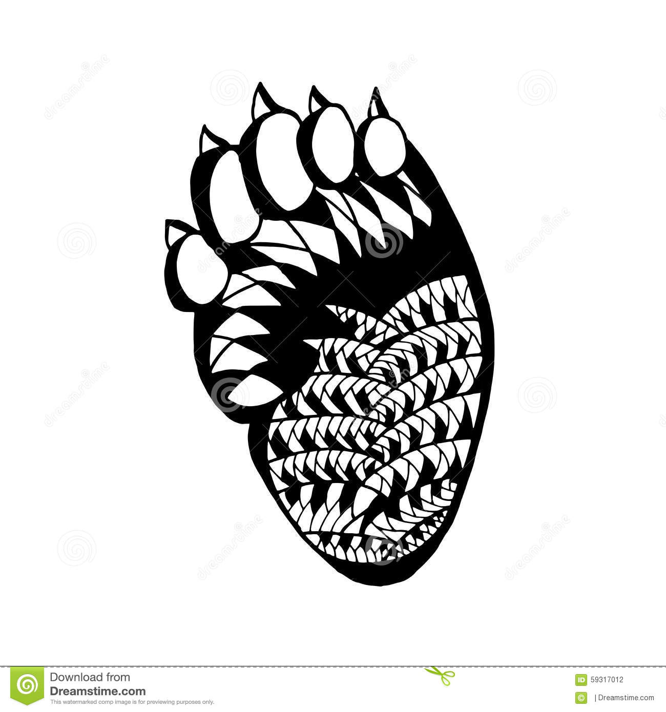 Zentangle Stylized Bear Paw Sketch For Tattoo Or T Shirt