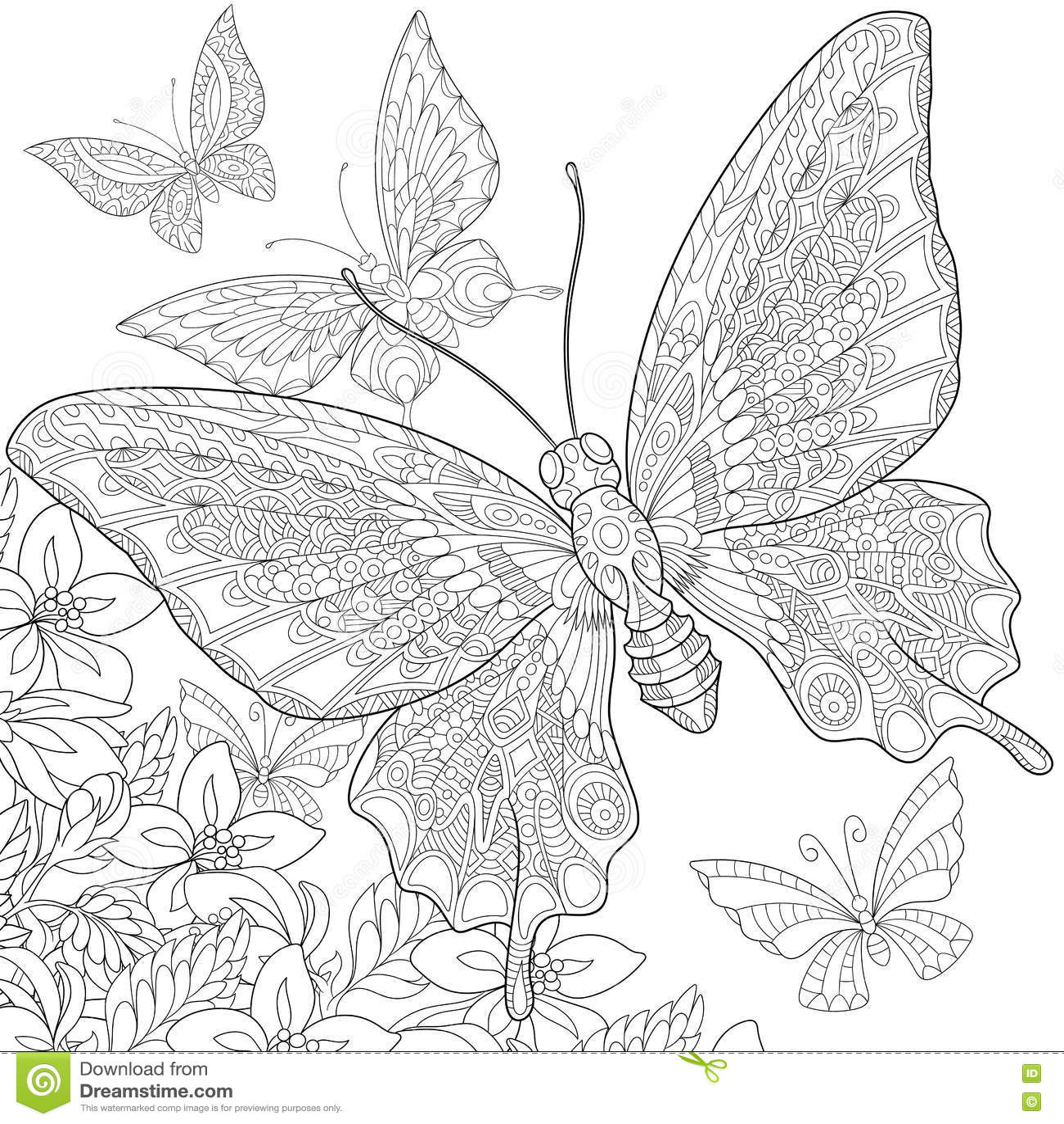 Zentangle Stylized Butterflies Stock Vector