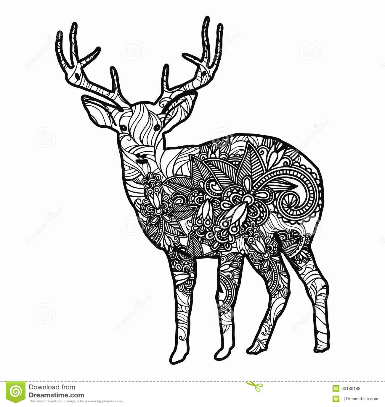Zentangle Stylized Deer Illustration Hand Drawn Doodle
