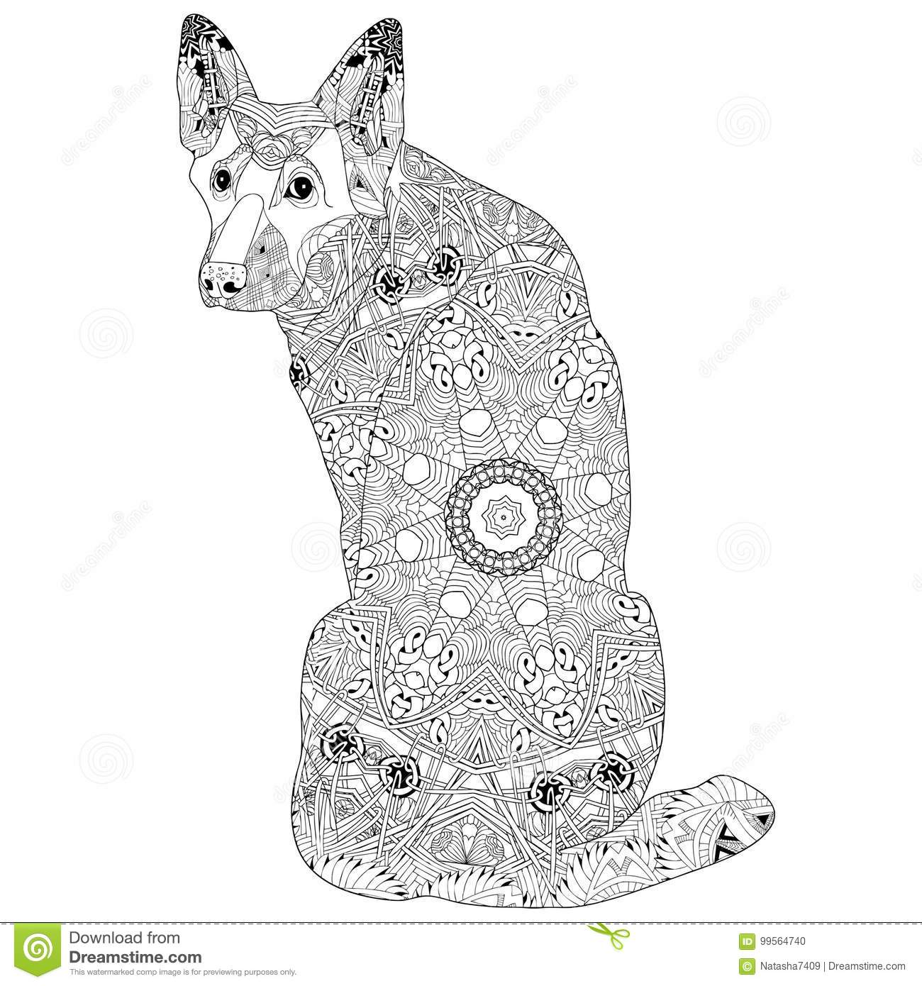Zentangle Stylized Dog Hand Drawn Lace Vector
