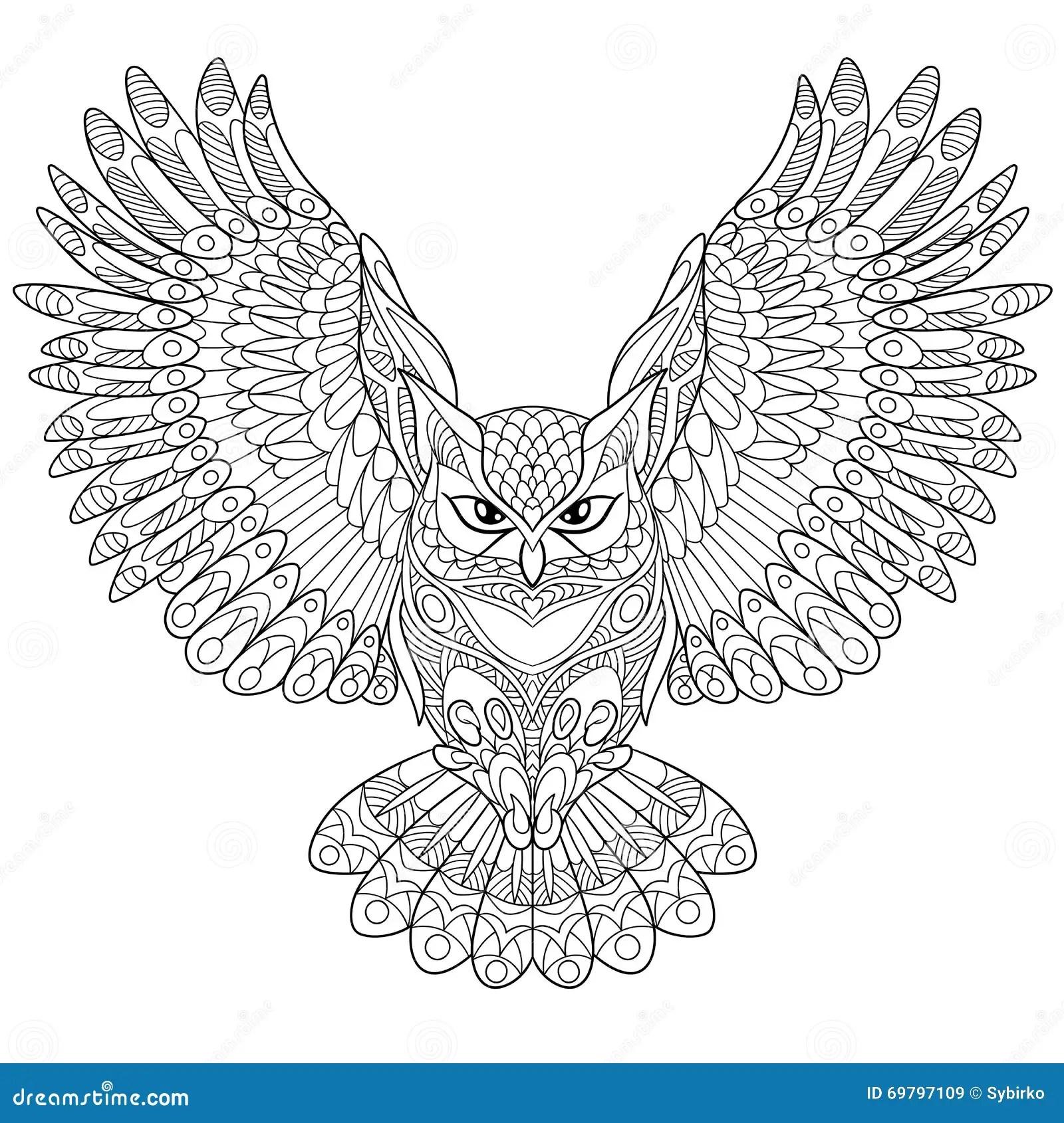 Zentangle Stylized Eagle Owl Stock Vector Image 69797109